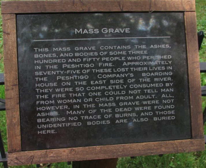 Mass Grave Plaque at Peshtigo Fire Museum