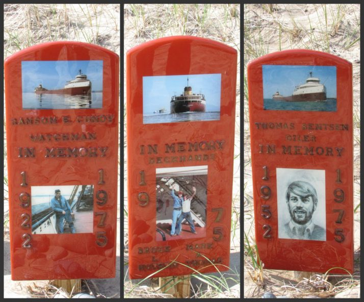 Memorial to crew of Edmund Fitzgerald on Lake Superior shoreline