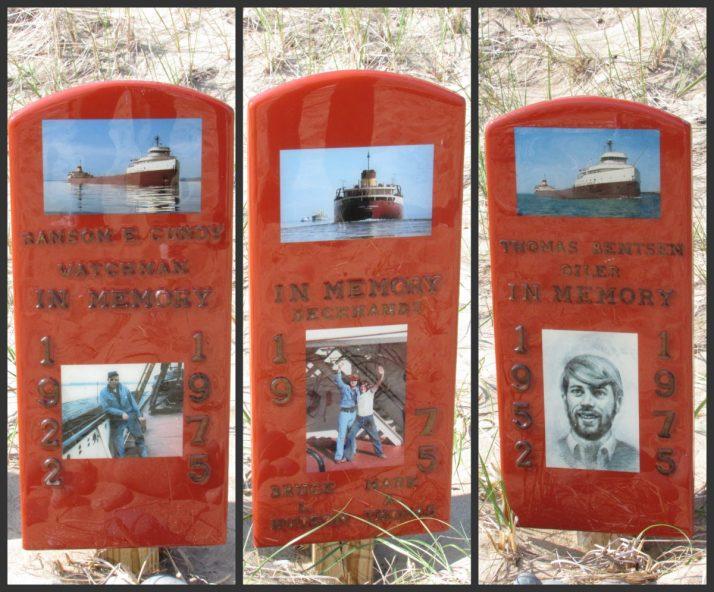 Memorial to crew of Edmund Fitzgerald on Lake Superior shoreline