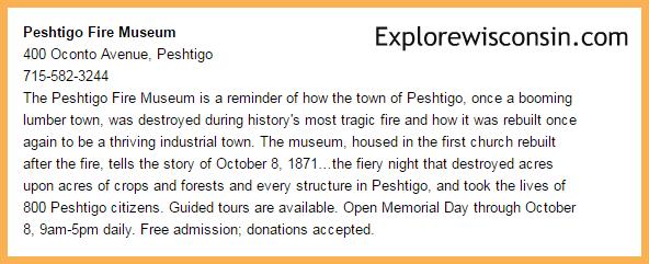 Peshtigo Fire Museum info
