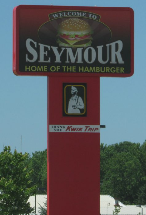Seymour-Home of the Hamburger sign