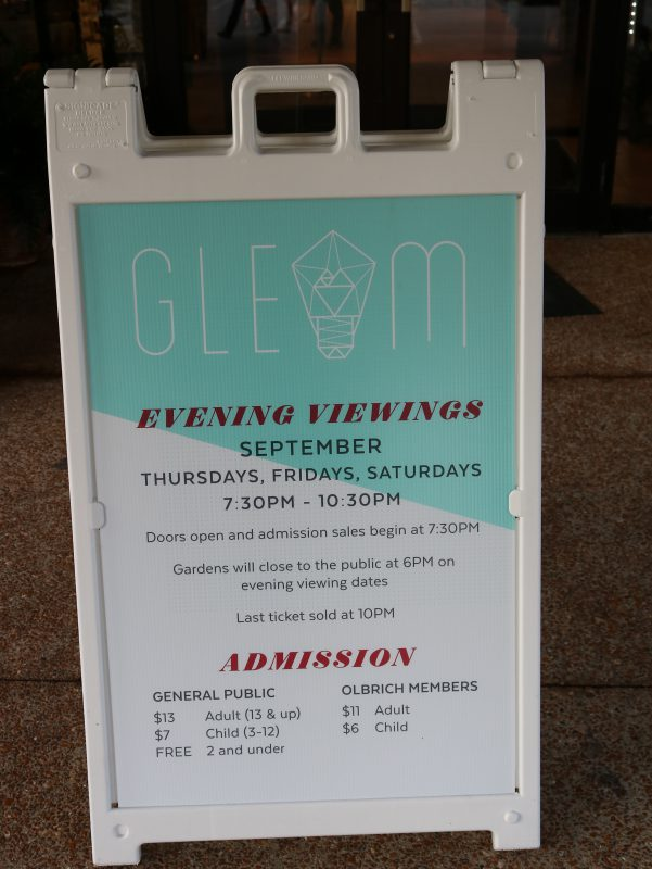 Gleam admission and times