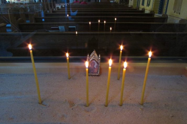 Candles Lit in Narthex