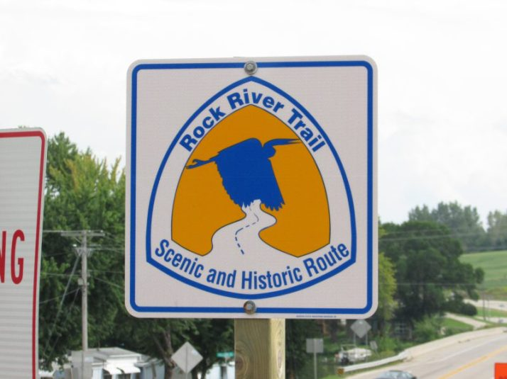 Rock River Trail sign in Newville