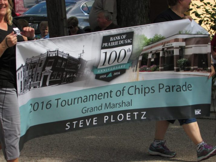 Cow Chip Parade banner in parade