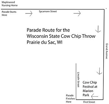 Cow Chip Throw parade map 15