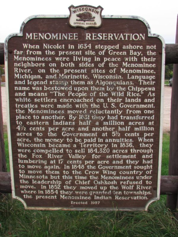 Menominee Reservation marker in Keshena