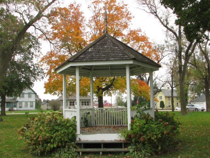 Fall tree backdrop behind gazebo in Paoli