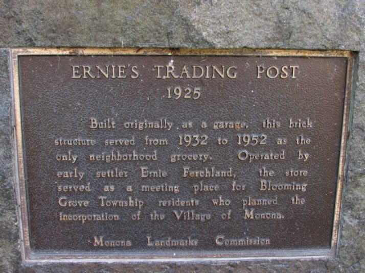Ernie's Trading Post plaque