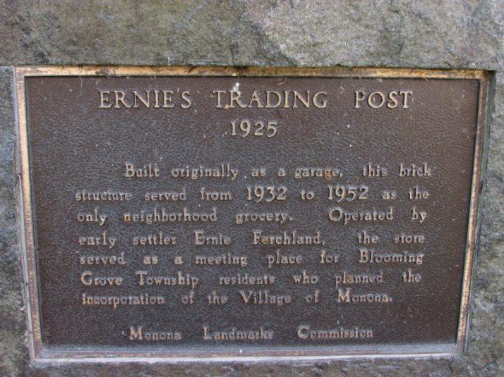 Ernie's Trading Post plaque
