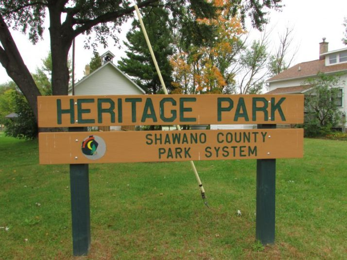 Heritage Park sign in Shawano