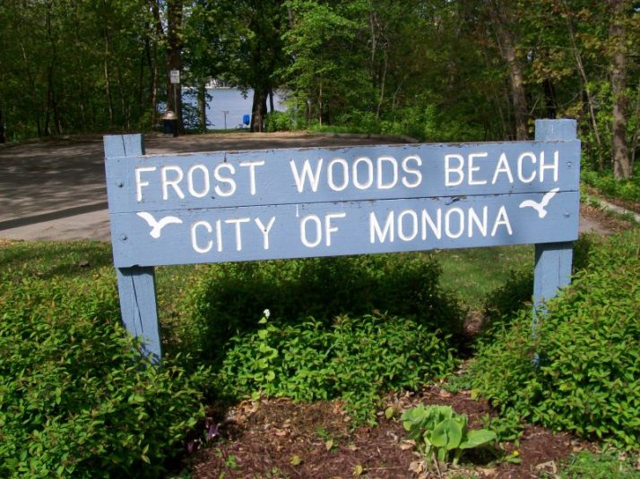 Frost Woods Beach sign