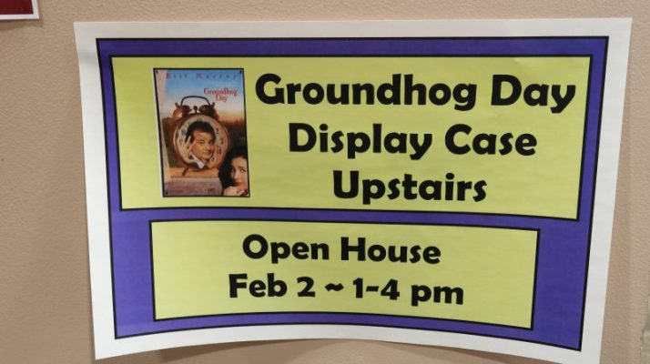 Groundhog Display in Woodstock Library sign