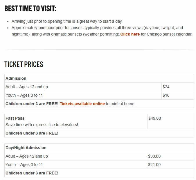 Ticket Prices 2018